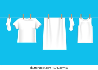 Bright white clothes hanging out on washing line\ on wire to dry , isolated on blue background in 3d illustration