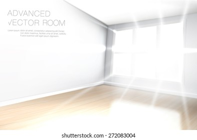 Bright, white empty room, with lots of sun rays shining trough large window on the wooden floor.