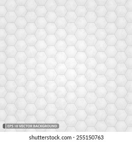 Bright White Hexagon Grid Vector Pattern