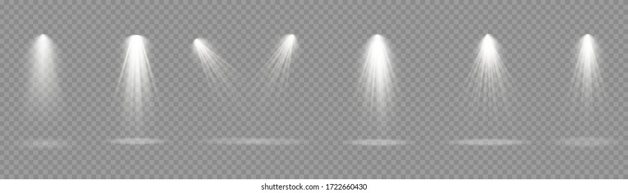 Bright white lighting with spotlights, projector light effects, scene, spot light isolated on transparent background, collection of stage lighting spotlights, stage lighting large collection, vector.