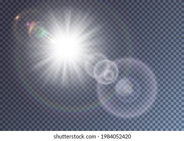 Bright white vector sun with lens flare effect. Colorful realistic glimpes and halo. Hot summer day illustration