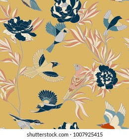 Bright wide vintage seamless background pattern. peony, with humming birds around. Stylized on orange color. Abstract, hand drawn, vector - stock.