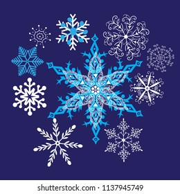 Bright winter background with beautiful snowflakes