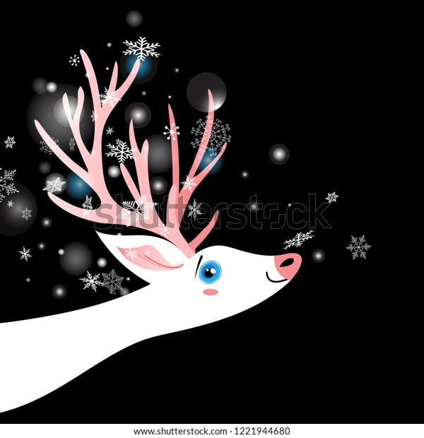 Bright winter New Year postcard with a white deer on a dark background with snowflakes.