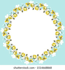 Bright wreath of Buttercup flowers. Layered vector file.Buttercups.Buttercup. For cards, invitations, brochures, business cards, restaurant menus.blue background.