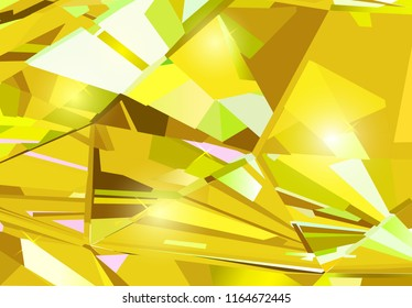Bright yellow abstract background made of yellow crystals. Vector design.