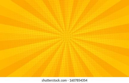 Bright yellow color burst background comic style pop art. Lightning blast halftone dots.