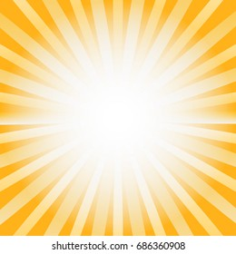 Bright Yellow Color Vector Background with Rays and Splash. Creative Frame Illustration for Poster, Ad, Cover and Billboard. Template for Design.
