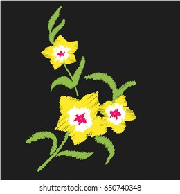 Bright yellow flowers. Nature flowers embroidery patch vector decoration.
