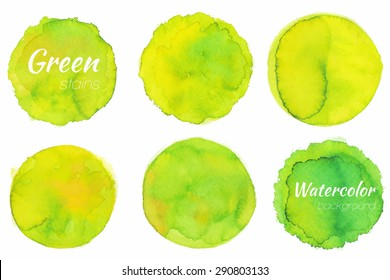 Bright yellow green watercolor painted vector stains set - stock vector