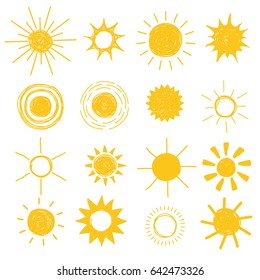 Bright yellow hand drawn suns set, vector illustration. Collection of sun design elements