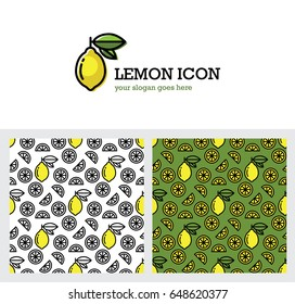 Bright yellow lemon icon and seamless pattern on green and white background. Juicy fruit. Fresh juice linear logo.