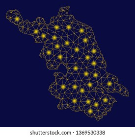 Bright yellow mesh Jiangsu Province map with glow effect. Wire carcass polygonal mesh in vector EPS10 format on a dark black background. Abstract 2d mesh built from polygonal grid, dots,