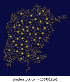 Bright yellow mesh Victoria Lake map with glare effect. Wire frame polygonal network in vector EPS10 format on a dark black background. Abstract 2d mesh designed with polygonal grid, round dots,