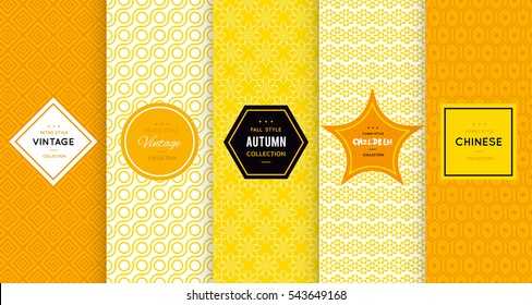 Bright yellow seamless pattern background. Vector illustration for elegant design. Abstract geometric frame. Stylish decorative label set. Pale light color. Monochrome geometric ornament