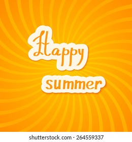 Bright yellow summer background. Happy summer! Vector illustration.