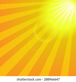 Bright yellow sun with rays abstract travel background