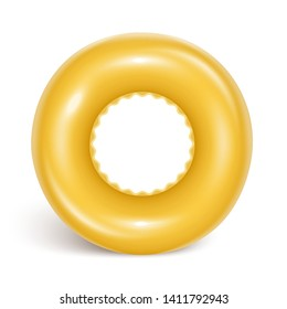 Bright yellow swimming circle. Inflatable rubber toy for child safety. Realistic summer illustration. Lifebuoy. View from above. Isolated on white background Vector illustration