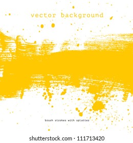 Bright yellow vector brush stroke hand painted background with paint splatter