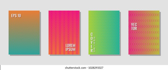 Bright zig zag lines gradient texture curves background for musical cover. Wavy stripes and zig zag vector halftone lines texture journal covers collection in green, orange, pink, blue colors.