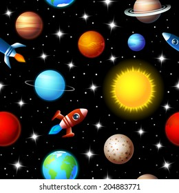 Brightly colored background seamless kids design of rockets flying through a starry sky in outer space between a variety of planets in the galaxy in a travel and exploration concept