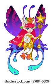 Brightly colored cartoon fairy on the white background.