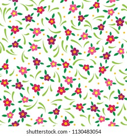Brightly colored cute seamless floral pattern with pink and purple blossoms and green flourishes on a white background