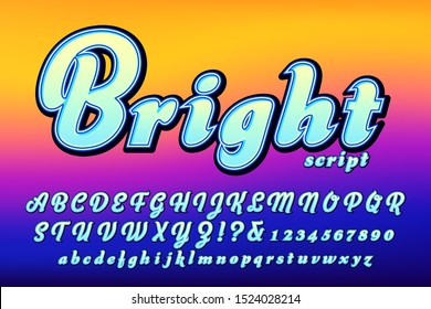 A brightly colored font with outline and shadow details on a vivid colored background; This bold brush script alphabet has strong chroma, presence, and a pop art quality.