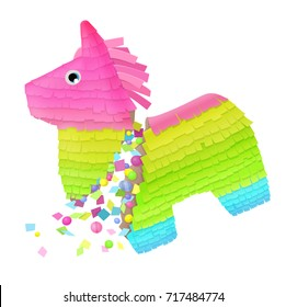 brightly colored Mexican broken donkey pinata with confetti and candies filler party game isolated on white background. vector illustration