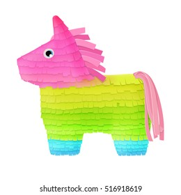 brightly colored Mexican horse pinata for candy party game isolated on white background. vector illustration