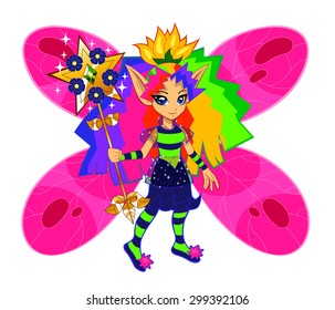 Brightly colored rainbow fairy on the white background.