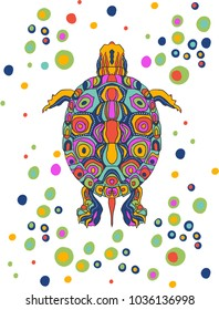 Brightly colored, stylized illustration of a painted turtle.