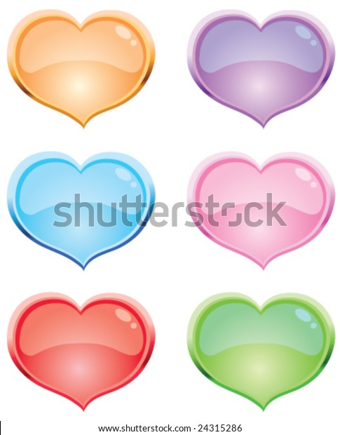 Brightly Colored Web Heart Shaped Buttons Stock Vector