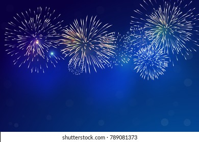 Brightly Colorful Fireworks and blue smoke from firework on twilight background