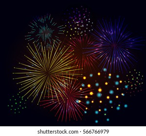 Brightly Colorful Fireworks on black background. Vector illustration