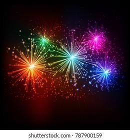 Brightly Colorful Fireworks on  dark background