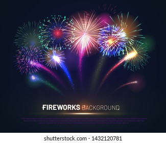 Brightly colorful fireworks on twilight background with free space for text. Realistic fireworks explosion and shining sparks. Pyrotechnics show vector illustration. Celebration and anniversary symbol