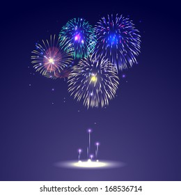 Brightly Colorful Fireworks on twilight color background
