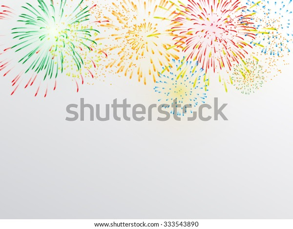 Brightly Colorful Fireworks on white gray background