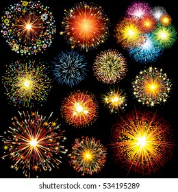 Brightly Colorful Fireworks and Salute. Vector Design Elements Isolated on Black Background