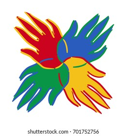Brightly coloured hands symbol showing unity