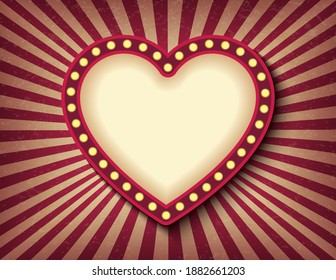 Brightly glowing heart retro cinema neon sign. Saint Valentine Day circus style show banner template. Background vector poster love postcard