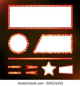 Brightly glowing set retro cinema neon sign vector design