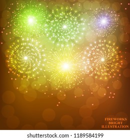 Brightly Gold Fireworks. Holiday fireworks background. Illustration of Fireworks. Vector illustration.
