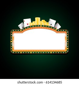 Brightly green and orange sign casino glowing retro neon