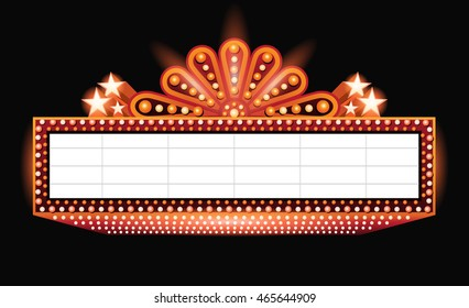 Brightly theater glowing orange retro cinema neon sign