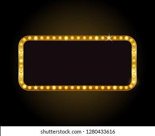 Brightly vector theater glowing retro cinema neon sign
