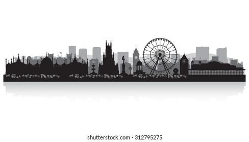 Brighton city skyline silhouette vector illustration