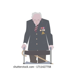Brighton UK - April 21 2020 vector illustration of Captain Tom Moore, a 99-year-old army veteran, completely surpassed his original target of raising £1,000 for the NHS in the fight against Covid-19