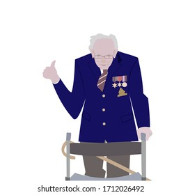 Brighton UK - April 23 2020 vector illustration of Captain Tom Moore, a 99-year-old army veteran, completely surpassed his original target of raising £1,000 for the NHS in the fight against Covid-19